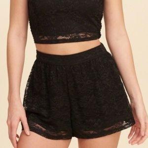 Hollister Black Lace High Waisted Shorts Medium